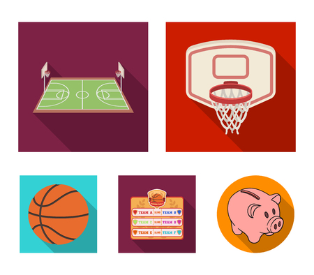 Basketball player and equipment vector symbol stock web illustration. Çizim