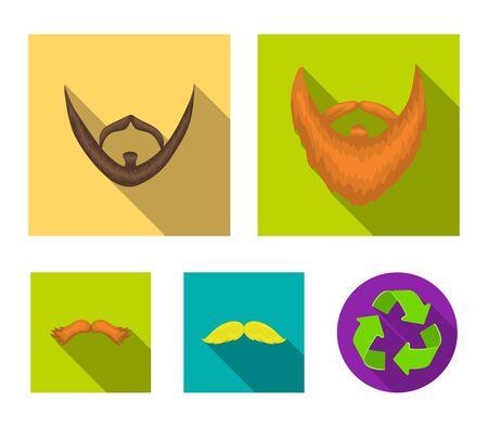 Beard set collection icons in flat style vector symbol stock illustration web. Ilustração