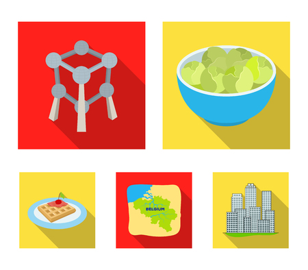 Territory on the map, brussels sprouts and other symbols of the country. Belgium set collection icons in flat style vector symbol stock illustration web.