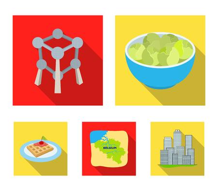Territorio en el mapa, coles de Bruselas y otros símbolos del país. Bélgica establece iconos de colección en estilo plano vector símbolo stock ilustración web. Foto de archivo - 96047149