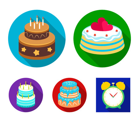 Sweetness, dessert, cream, treacle .Cakes country set collection icons in flat style vector symbol stock illustration .