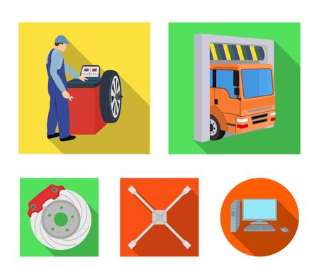 Wheel balancing, spanner and brake disc flat icons in set collection for design.Car maintenance station vector symbol stock illustration . Illustration