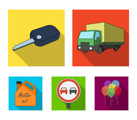 Vehicle set collection icons in flat style vector symbol stock illustration web. Archivio Fotografico - 96047157