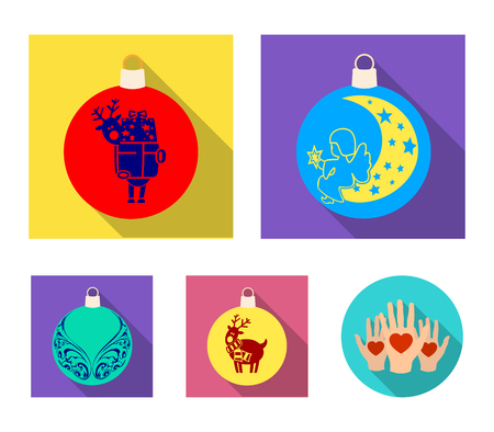 New Years Toys flat icons in set collection for design. Christmas balls for a tree vector symbol stock web illustration. Ilustrace