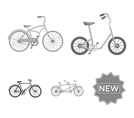 Different bicycles set collection icons in monochrome style vector symbol stock illustration web.