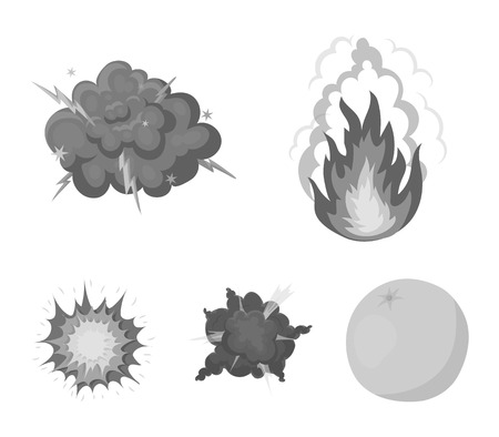 Explosions set collection icons in monochrome style vector symbol stock illustration web. Banco de Imagens - 96055136