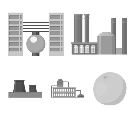 Factory set collection icons in monochrome style vector symbol stock illustration web.