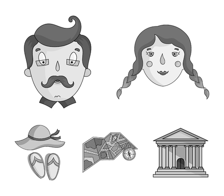 Family holiday set collection icons in monochrome style vector symbol stock illustration web. 向量圖像