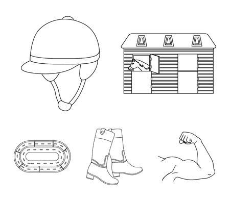 Hippodrome and horse set collection icons in outline style vector symbol stock illustration web.