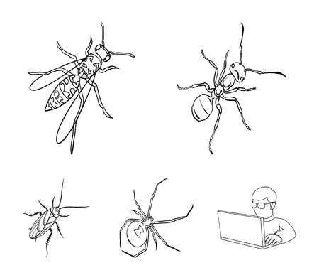 Insects set collection icons in outline style vector symbol stock isometric illustration web.