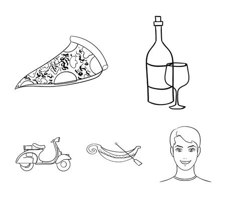 L'Italia ha messo le icone della raccolta nel web dell'illustrazione delle azione di simbolo di vettore di stile del profilo. Archivio Fotografico - 96094296