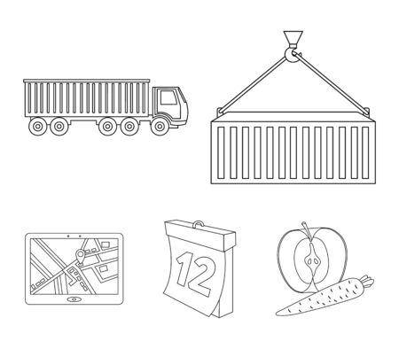 Logistic set collection icons in outline style vector symbol stock illustration web.