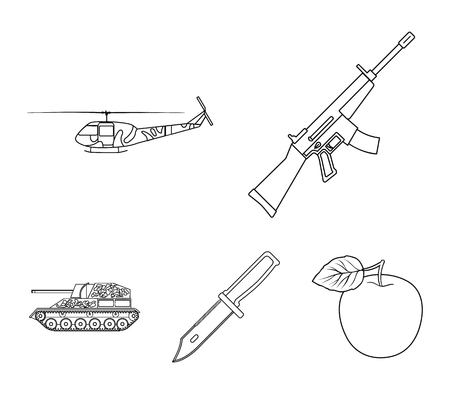 Military and army set collection icons in outline style vector symbol stock illustration web. Illustration