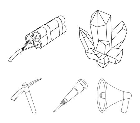 Mining industry set collection icons in outline style vector symbol stock illustration.