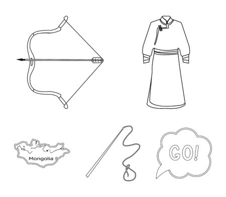 Mongolia set collection icons in outline style vector symbol stock illustration.