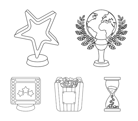 Movie awards set collection icons in outline style vector symbol stock illustration.