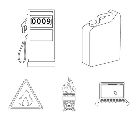 Oil set collection icons in outline style vector symbol stock illustration web. Ilustração
