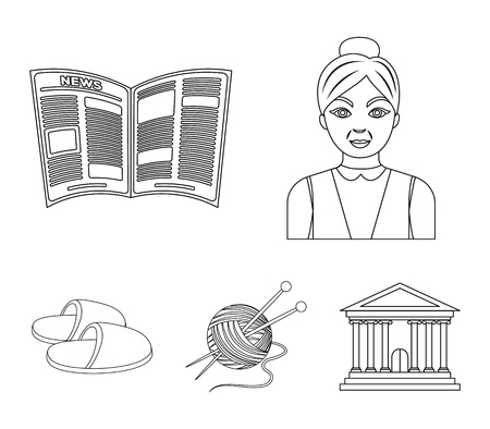 Old age set collection icons in outline style vector symbol stock illustration web.