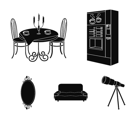 Coffee maker, served table in the restaurant and other web icon in black style isometric. Illustration