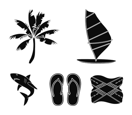 Surfing set collection icons in black style vector symbol stock illustration web.