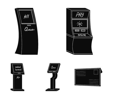 Medical terminal, ATM for payment,apparatus for queue. Terminals set collection icons in black style isometric vector symbol stock illustration web.
