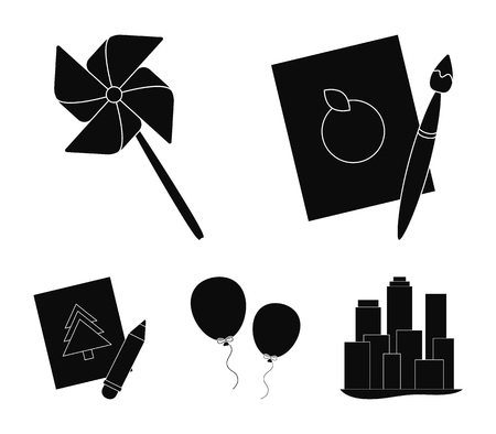 Pictures, a windmill, balloons set collection icons in black style vector symbol stock illustration web.