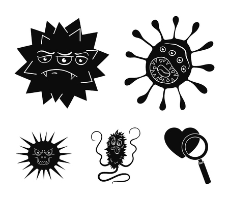 Viruses and bacteria set collection icons in black style vector symbol stock illustration web.
