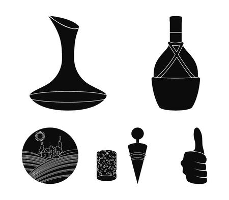 Una botella de vino en una cesta, un gafine, un sacacorchos con un corcho, un valle de uvas. Producción de vino set iconos de colección en estilo negro vector símbolo stock ilustración web. Foto de archivo - 96208653