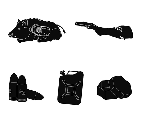 Rotten, flesh, boar, and other web icon in black style.Apocalypse, end, world icons in set collection.