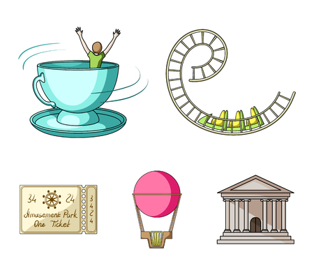 Roller coaster ride, balloon with basket, caruelle cup, ticket to the entrance to the park. Amusement park set collection icons in cartoon style vector symbol stock illustration web. Stock Illustratie