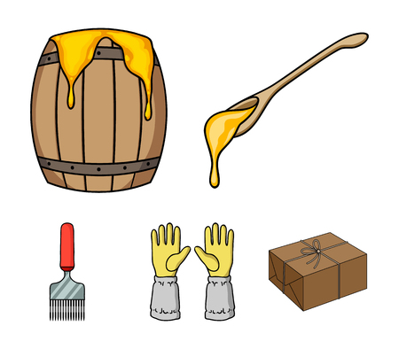 A spoon of honey, protective gloves, a barrel of honey, a fork.Apiary set collection icons in cartoon style vector symbol stock illustration web. Illustration