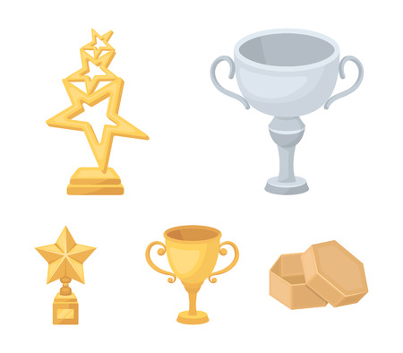 Silver cup for the second place, gold stars on the stand, a cup with a star, a gold cup.Awards and trophies set collection icons in cartoon style vector symbol stock illustration web.