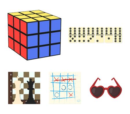 Bordspel cartoon pictogrammen in set collectie voor design. Spel en entertainment vector symbool stock web illustratie. Stock Illustratie