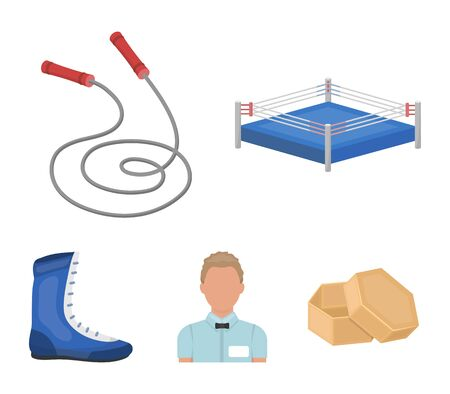 Ring, rope, referee, sneakers Boxing set collection icons in cartoon style vector symbol stock illustration web.