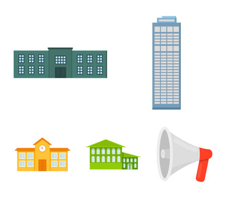 Skyscraper, police, hotel, school.Building set collection icons in cartoon style vector symbol stock illustration web. Illustration