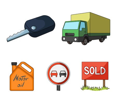 Truck with awning, ignition key, prohibitory sign, engine oil in canister, Vehicle set collection icons in cartoon style vector symbol stock illustration . Archivio Fotografico - 96204306