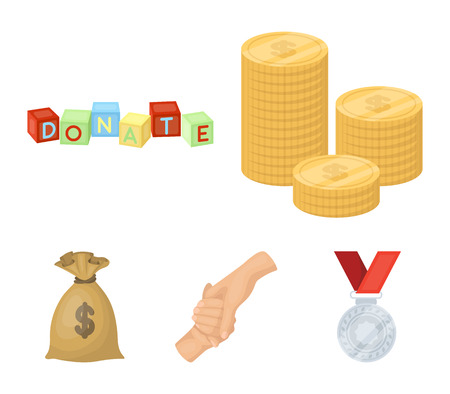A pile of coins for donations, colored cubes with an inscription, a handshake, a bag of money for donations. Charity and donation set collection icons in cartoon style vector symbol stock illustration .