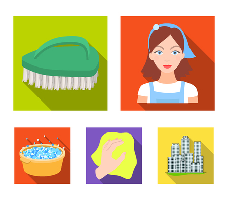 A cleaning woman, a housewife in an apron, a green brush, a hand with a rag, a blue wash hand basin with foam. Cleaning set collection icons in flat style vector symbol stock illustration .