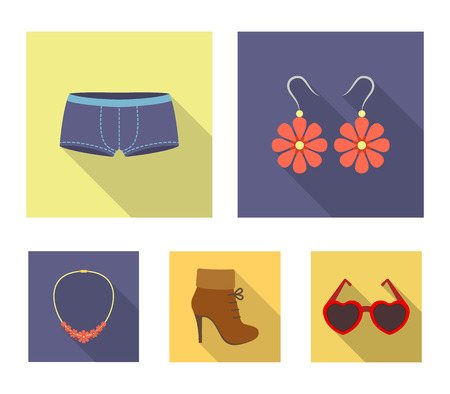 Earrings, bijouterie, clothes, fashion and other clothes. Clothes set collection icons in flat style vector symbol stock illustration . Banque d'images - 96205070