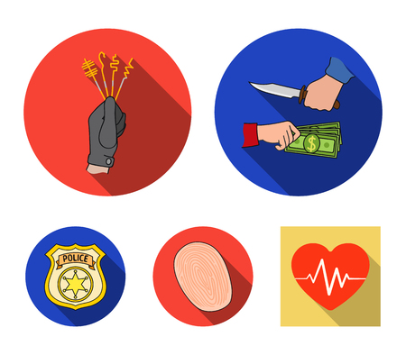 Robbery attack, fingerprint, police officers badge, pickpockets.Crime set collection icons in flat style vector symbol stock illustration . Illustration