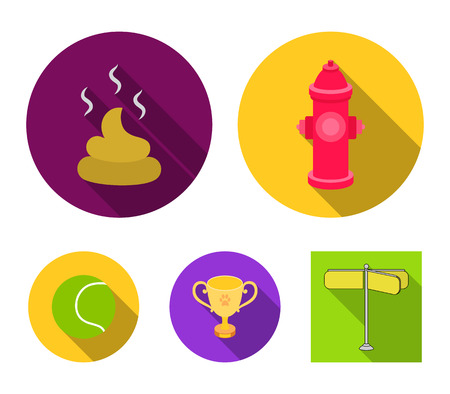 Tennis ball, game, hydrant fire, cup, feces.Dog set collection icons in flat style vector symbol stock illustration .