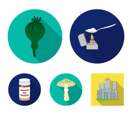 Heroin in a spoon, mushroom galyutsinogenny, opium poppy, tablets. Drugs set collection icons in flat style vector symbol stock illustration .