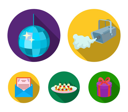 A video camera with smoke, a twirling holiday ball, a plate of sandwiches, an envelope with a greeting card. Event services set collection icons in flat style vector symbol stock illustration web. Vectores