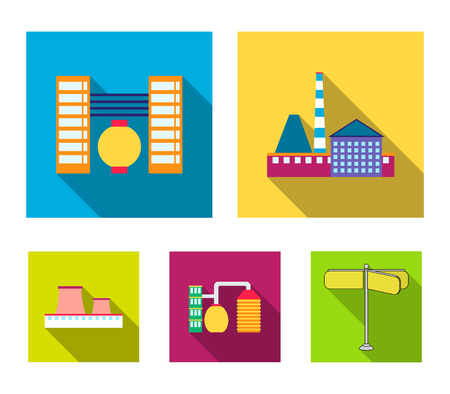 Industry, production.Factory set collection icons in outline style vector symbol stock illustration . Vettoriali
