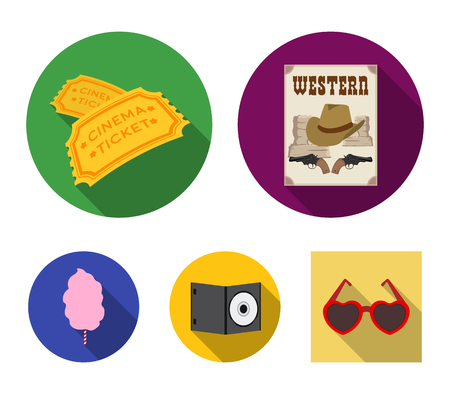 Western cinema, tickets, sweet cotton wool, film on DVD.Filmy and cinema set collection icons in flat style vector symbol stock illustration web. Stock Illustratie