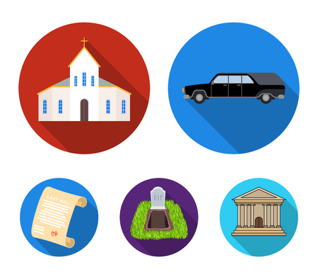 Funeral ceremony set collection icons in flat style vector symbol stock illustration web.