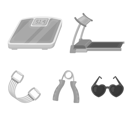 Treadmill, scales, expander and other equipment for training.Gym and workout set collection icons in monochrome style vector symbol stock illustration . Illustration