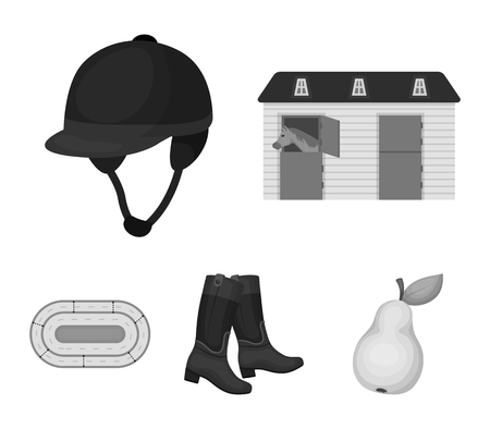 Boots, grass, stadium, track, rest .Hippodrome and horse set collection icons in monochrome style vector symbol stock illustration . 向量圖像