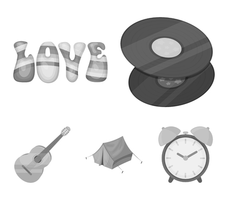 Vinyl discs, guitar, tent.Hippy set collection icons in monochrome style vector symbol stock illustration.