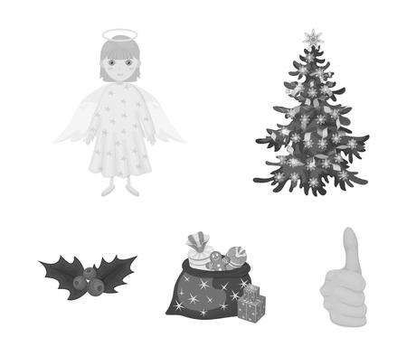 Christmas tree, angel, gifts and holly monochrome icons in set collection for design. Christmas vector symbol stock  illustration.